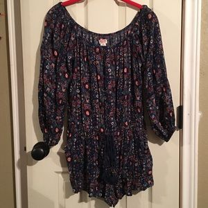 Mossimo supply co. Navy blue floral romper